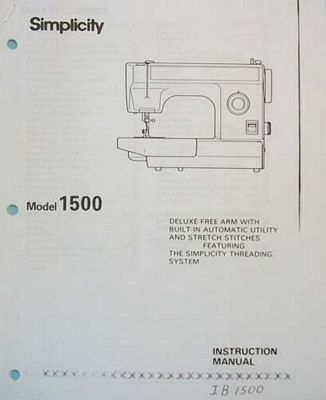 INSTRUCTION BOOK Simplicity 1500 Babylock BL1500