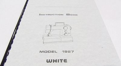 INSTRUCTION BOOK White 1927