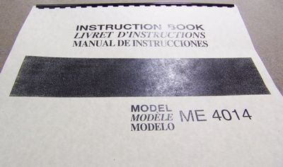 INSTRUCTION BOOK New Home 4014