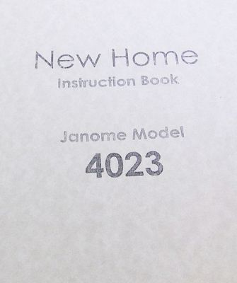 INSTRUCTION BOOK New Home 4023