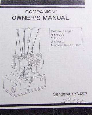 INSTRUCTION BOOK Sergemate 432