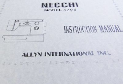 INSTRUCTION BOOK Necchi 4795