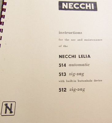 INSTRUCTION BOOK Necchi 513