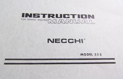 Instruction Book Necchi 525FA
