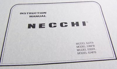 INSTRUCTION BOOK Necchi 534FB 535FA 536FB 537FA