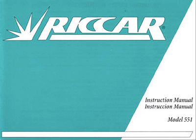 INSTRUCTION BOOK Riccar 551