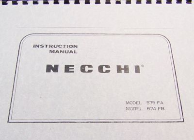 INSTRUCTION BOOK Necchi 537L 574FB 575FA