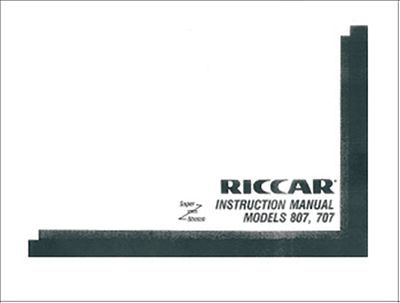INSTRUCTION BOOK Riccar 707 807