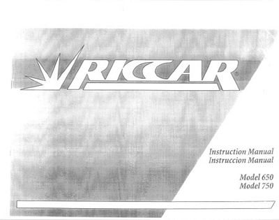 INSTRUCTION BOOK Riccar 750