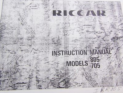 INSTRUCTION BOOK Riccar 805 706 806R