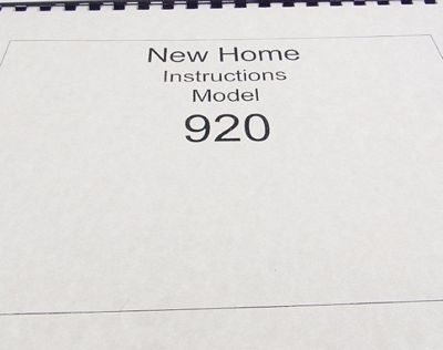 INSTRUCTION BOOK New Home 920