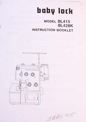 Instruction Boo Babylock BL415 BL428K