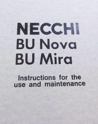 INSTRUCTION BOOK Necchi BU Nova