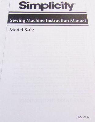 INSTRUCTION BOOK Simplicity S02 1