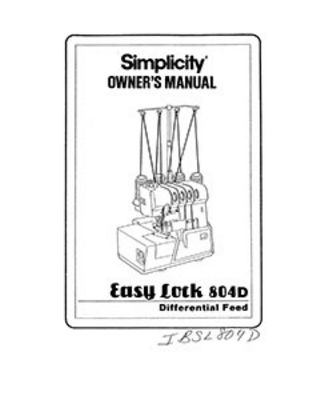 INSTRUCTION BOOK Simplicity SL804D serger