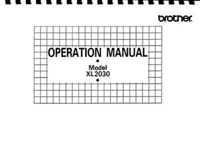 INSTRUCTION BOOK Brother XL2030 XL2500