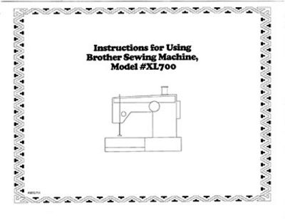 INSTRUCTION BOOK Brother XL700