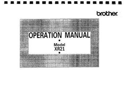 INSTRUCTION BOOK Brother XR21