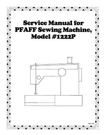 Service Manual Pfaff 1196-1222