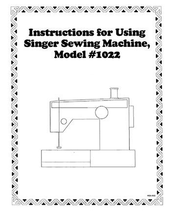Instruction Book Singer 1022