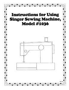 INSTRUCTION BOOK Singer 1030 1036