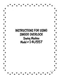 INSTRUCTION BOOK Singer 14U557