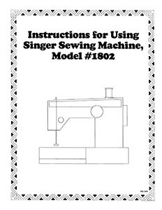 INSTRUCTION BOOK Singer 1802 1852 1872