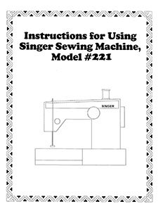 Instruction Book Singer 221