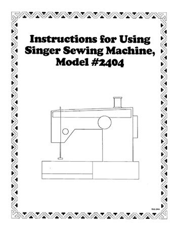 Instruction Book Singer 2404