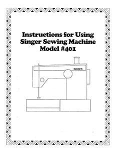 INSTRUCTION BOOK Singer 401 401A 403 404