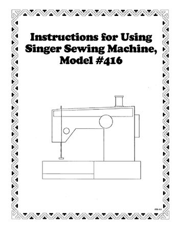 INSTRUCTION BOOK Singer 416 418