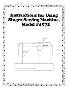 INSTRUCTION BOOK Singer 4572 9034 9044 93234
