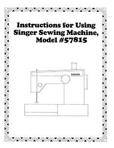 INSTRUCTION BOOK Singer 57815