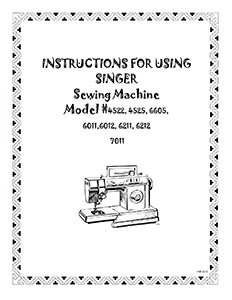 Instruction Book Singer 4522 6202 6212