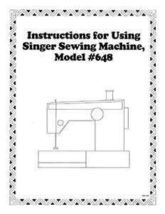 INSTRUCTION BOOK Singer 648