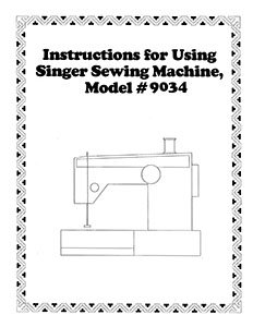 Instruction Book Singer 9034