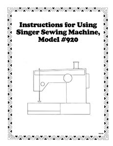INSTRUCTION BOOK Singer 900 920
