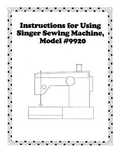 INSTRUCTION BOOK Singer 9920